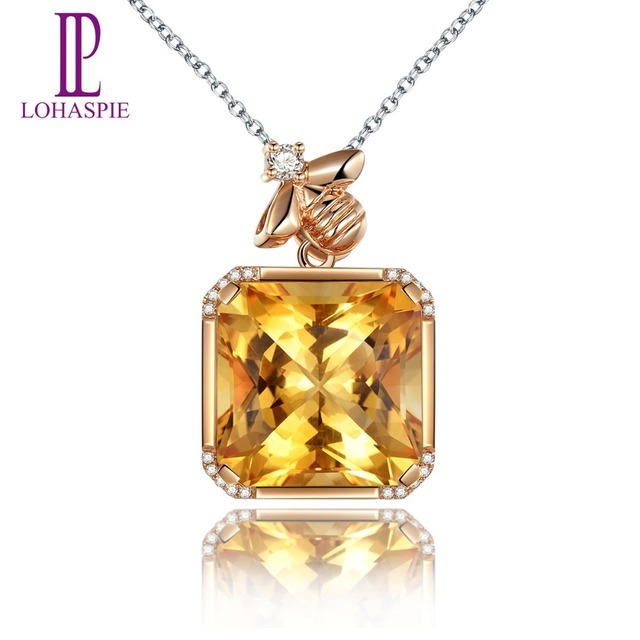 Lohaspie solid 18k rose gold 1418 carat natural citrine diamond lohaspie solid 18k rose gold 1418 carat natural citrine diamond pendant necklace for womens aloadofball Images