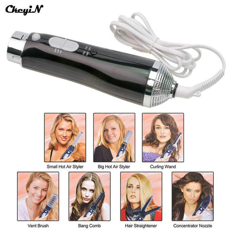 купить 7 in 1 Professional Hair Dryer Hair Blow Dryer Mini Hairdryer with Comb Nozzles Attachments Blower hair Styler Styling Tool S42 по цене 2132.4 рублей