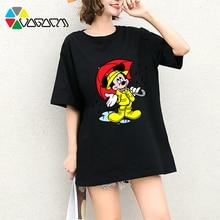 New Women Mickey Mouse T Shirts Short Sleeve Plus Size Fashion Loose Tees Cute Cartoon Print Harajuku Tops Streetwear