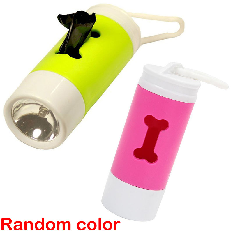 Flash Light Dog Waste Bags Dispenser Mayitr Pet Puppy Cat Poop Scoop Clean Up Roll Holder Random Color