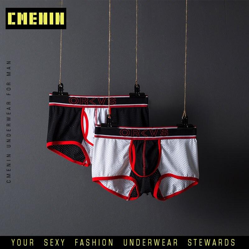 ORLVS Sexy Men Underwear Boxer Mesh Boxers Lingerie Underpants Mens Cotton Gay Men Boxers Shorts Male Panties Long Boxer OR201