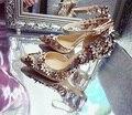 2017 flores de primavera señaló muy bien con zapatos de tacón alto de flores femeninas de Diamantes de oro zapatos de Novia zapatos de boda femenina