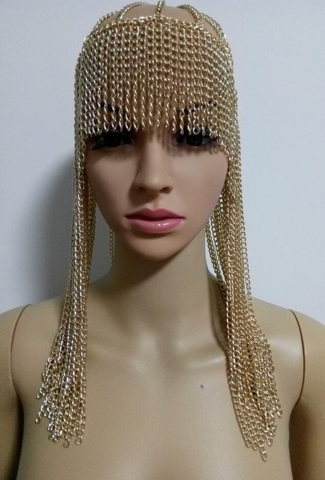 Новый модный стиль WRB949 женский жгут Золотые Цепи слои голова лицо цепи ювелирные изделия голова для косплея цепочки для волос ювелирные изд