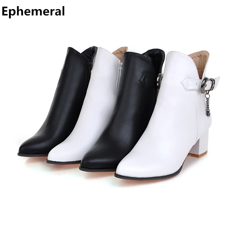 Women's fur boots ankle high heels pointed toe botas zapatos mujer with buckle zipper shoes winter autumn black white big size 9 black ankle boots women high heels pointed toe sexy snow boots woman shoes rivets winter women boots with fur botas mujer b 0197