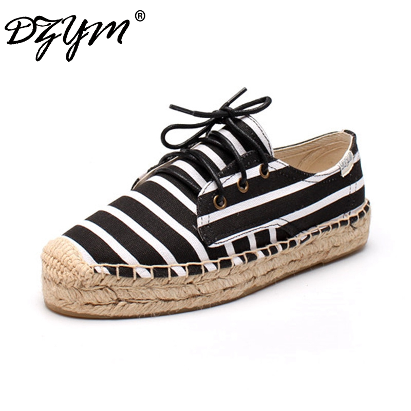 DZYM 2018 Classic Canvas Espadrille Zebra Stripe Women Platform Flats High Quality Straw Sewing Fisherman Shoes Zapatos Mujer