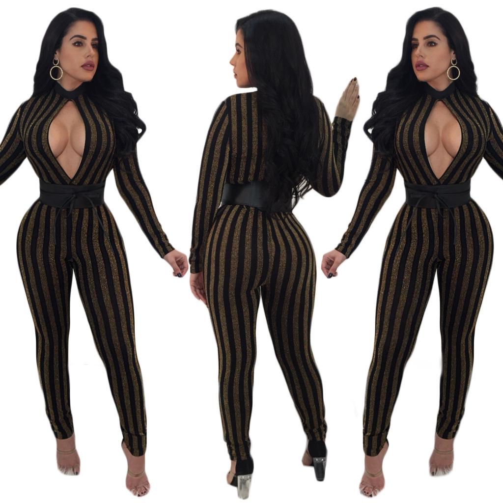 ed8256dcfb 2019 QMGOOD Ladies Fashion Striped Bodysuits Long Sleeves Slim ...