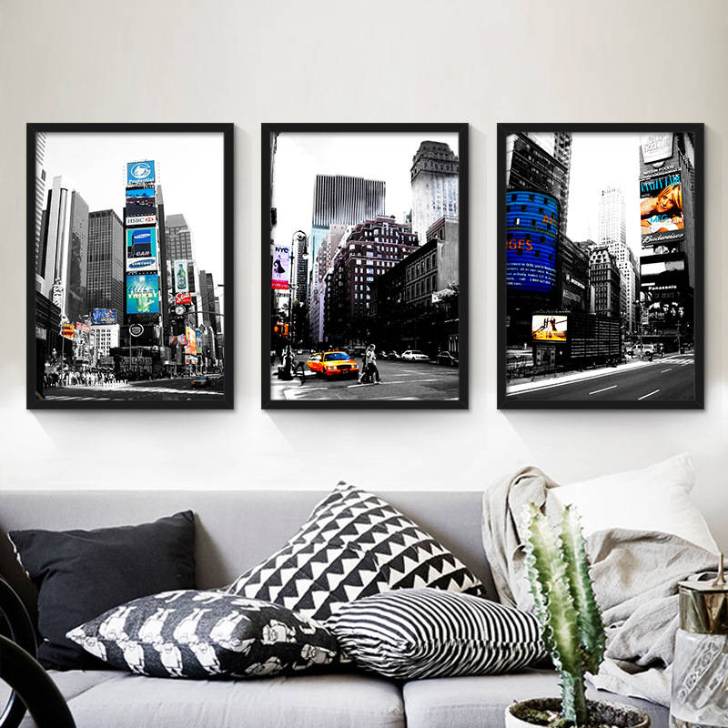 United States <font><b>New</b></font> <font><b>York</b></font> <font><b>City</b></font> Street View Yellow Taxi canvas painting Living Room Wall posters art prints <font><b>City</b></font> Modern Street View