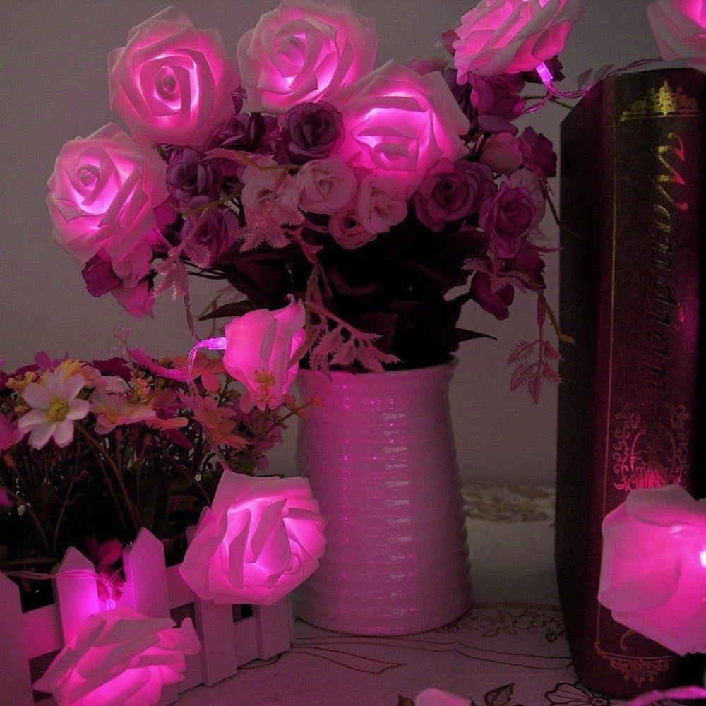 BHomify Rose Flower Festoon LED Lights 20 Leds String Lights Christmas Indoor Decorations For Home Valentines Fairy Light
