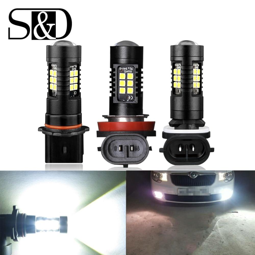 2pcs 1200Lm H11 H8 LED Car Lights Auto Bulbs H27 880 881 P13W LEDs Driving Lamp White Daytime Running Lights DRL Fog 12V - 24V