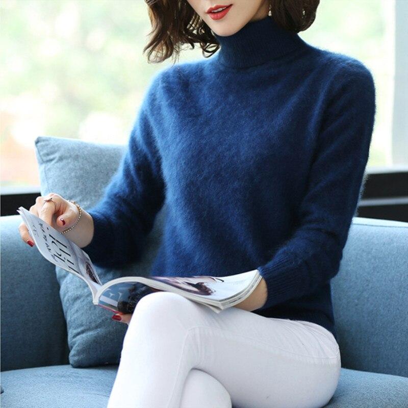 Outono e inverno de alta-pescoço pura caxemira camisola pulôver feminino seção curta de malha fina assentamento suéter de cashmere