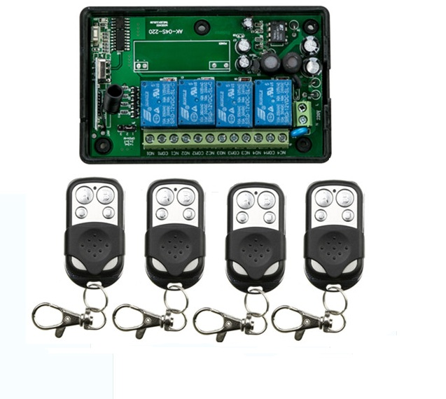 AC80 260V 4CH RF Wireless Remote Control System Motor and electric door 220V Learning code receiver