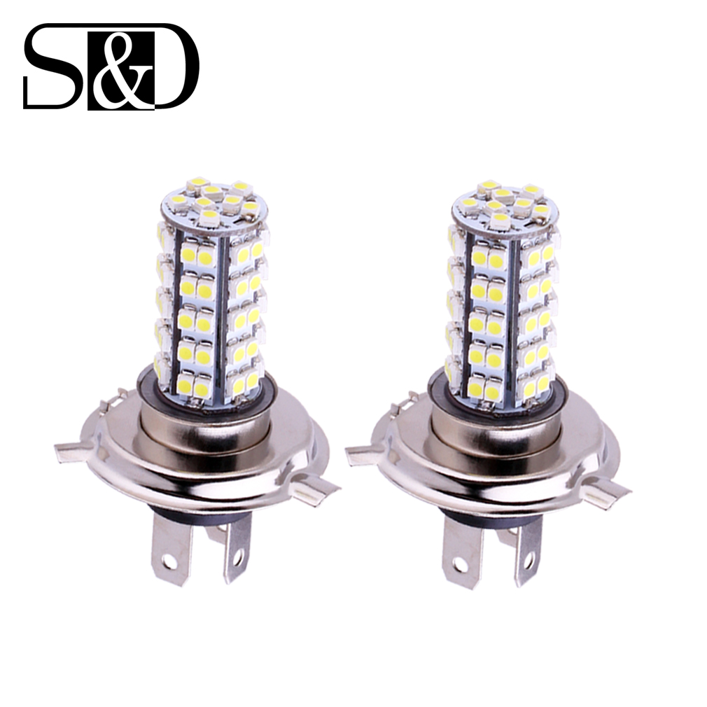 2pcs H4 68 SMD  White Fog Signal Tail Driving LED Lamp Bulb Auto car led bulbs Car Light Source parking 12V 6000K Head Lamps 2x h3 9 led smd car auto xenon white fog driving head light lamp bulb 6500k car styling lights lamp automoblies