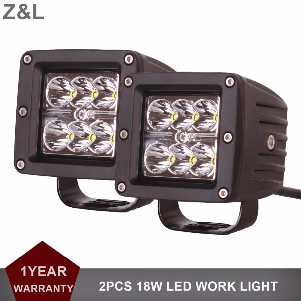 2pcs Offroad 18W LED Work Light 12V 24V Driving Headlight Car SUV ATV UTE Tractor Trailer Wagon Pickup 4X4 4WD Camper Fog Lamp