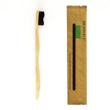 Черный цвет, 1 шт., стильная ручка, Бамбуковая зубная щетка, дерево, новинка, Бамбуковая Мягкая щетина, нейлоновое волокно, деревянная ручка