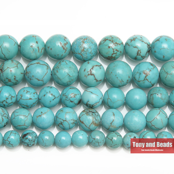 "Envío Gratis nuevo Natural Lt howlita azul turquesas suelta perlas redondas 15 ""Strand 4 6 8 MM 10 MM 12 MM elegir tamaño para joyería TB16"