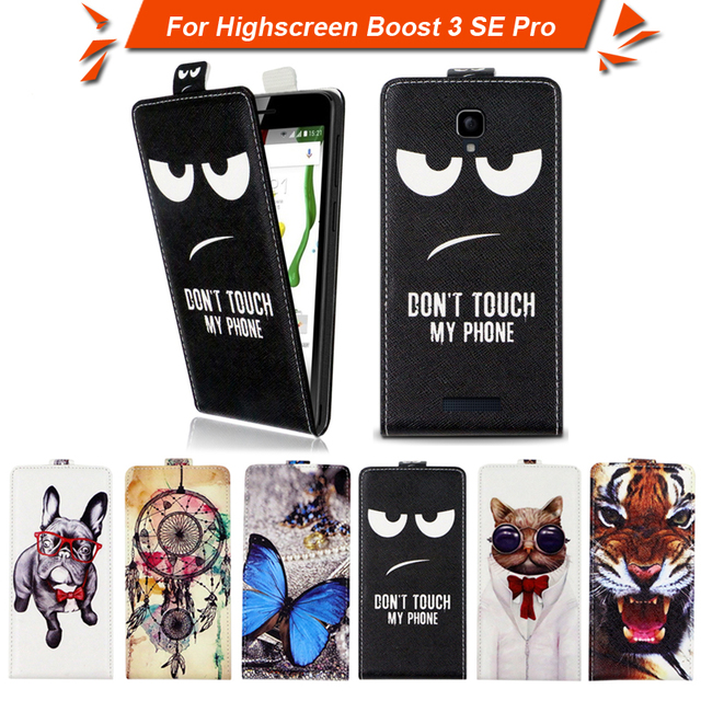 High quality fashion cartoon pattern flip up and down leather case for Highscreen Boost 3 SE Pro,Free gift