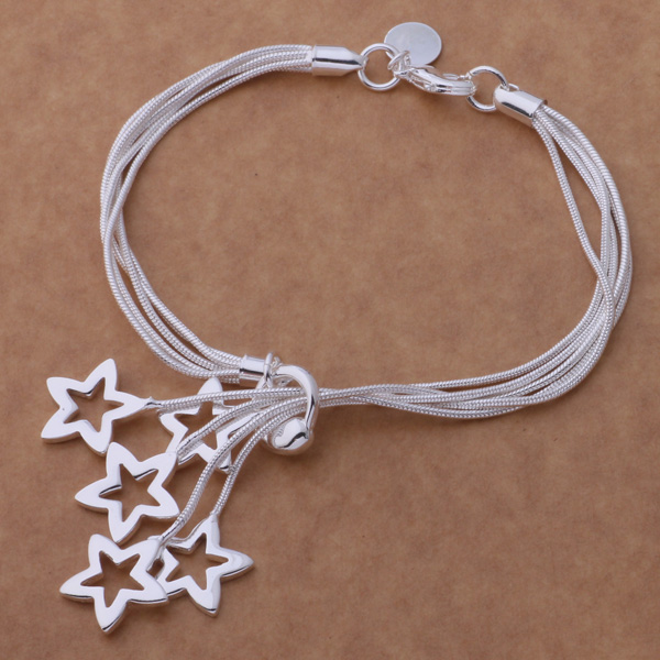 Classic Beautiful Star Bracelet Bead Pendant Silver Plated Multilayer Chain Bracelets Loving Gift AB185