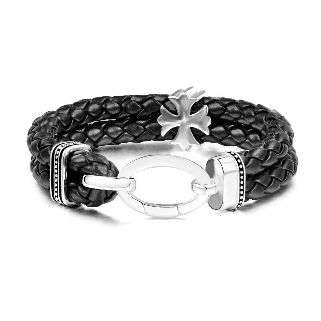 AENINE Винтаж Шарм Браслеты Jewelry черный и коричневый Цвет двойной Мальтийский крест круглой пряжкой браслет кожаный шнур TSBR039
