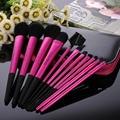 11 pcs Moda Rosa Sombra Fundação Blush Pincel de Maquiagem Profissional Definida Escovas de Cosméticos Make Up Tools Kit com saco do zipper