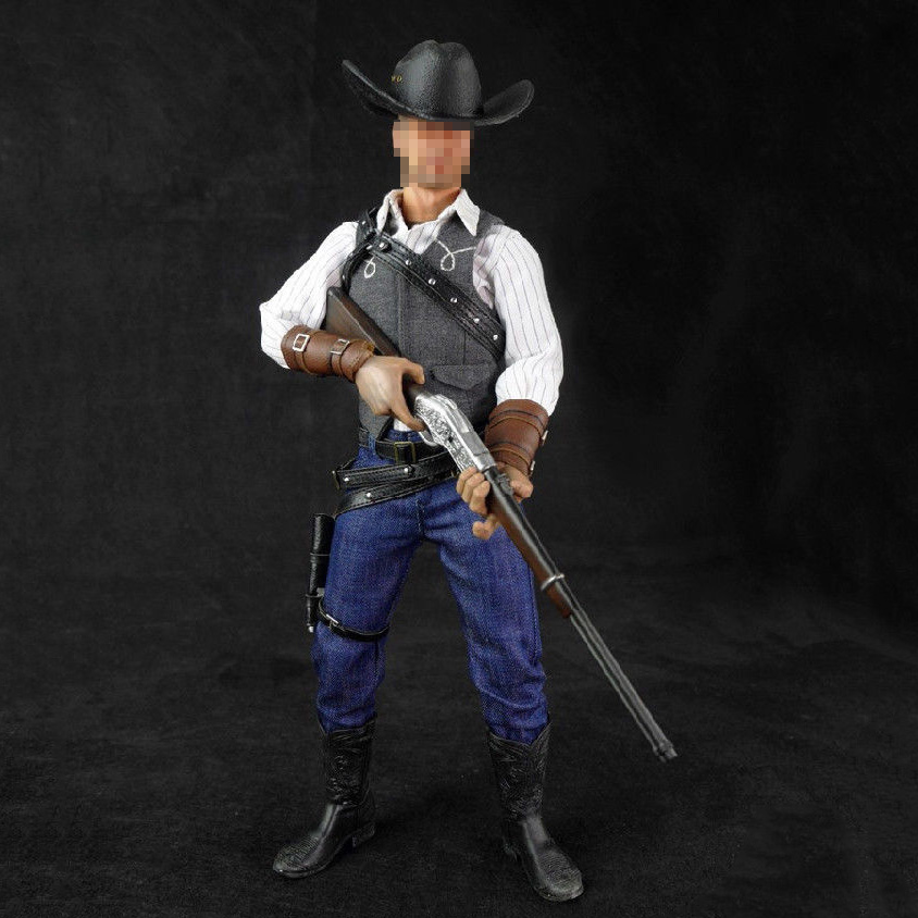 1/6 Scale Cowboy Clothes & Weapon Model Set For 12 inches Action Figures Collections 1 6 soldier action figure the dark zone agent renegad with weapon model accessories full set collections