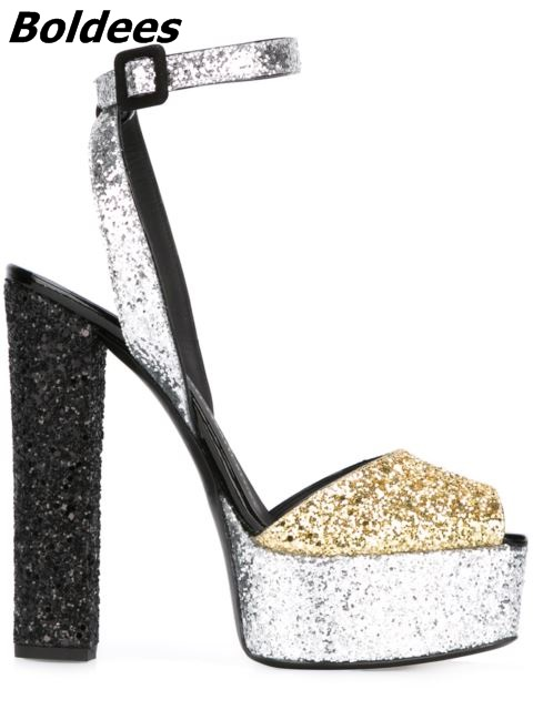US $65.82 14% OFF New Arrival Patent LeatherSequins Platform Sandals Women Shoes Buckle Style Chunky High Heels Sandals Lady Block Heel Pumps in High