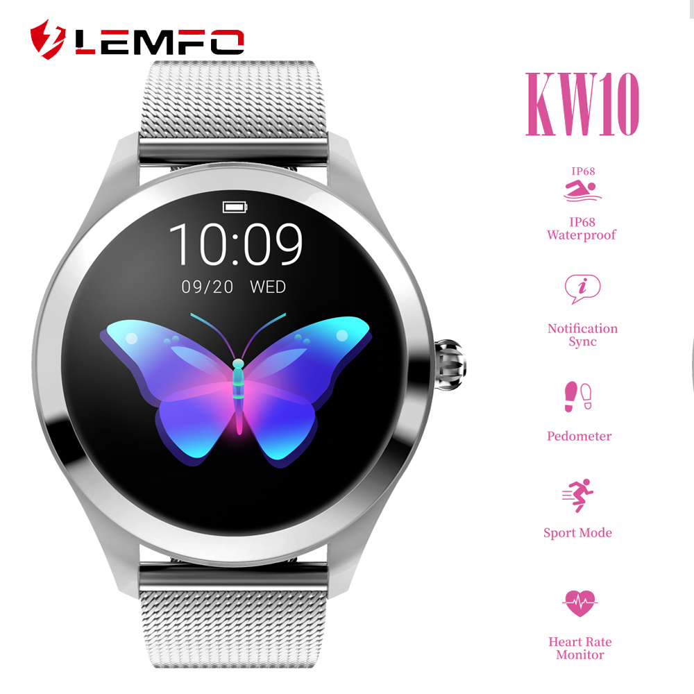 LEMFO KW10 Smart Watch Women 2019 IP68 Waterproof Heart Rate Monitoring Bluetooth For Android IOS Fitness