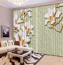 3D Curtain Photo Customize Size Blackout Shade Window Curtains Gray Background Embossed Flower For Bedroom Curtains(China)