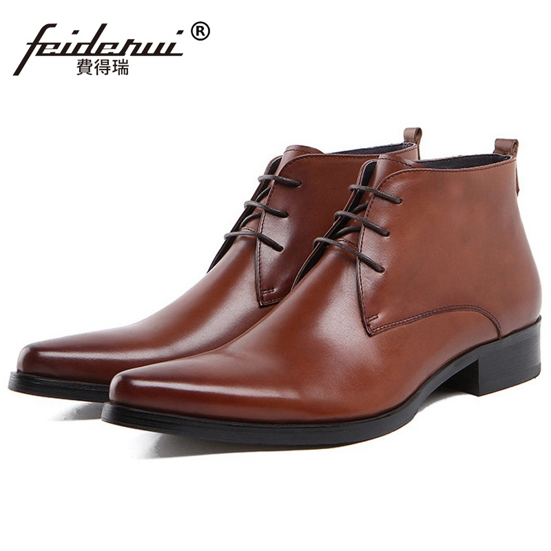 Fashion Pointed Toe Man Luxury Brand Shoes Genuine Leather Male Footwear Italian Designer Men's Cowboy Martin Ankle Boots RF80 цены онлайн