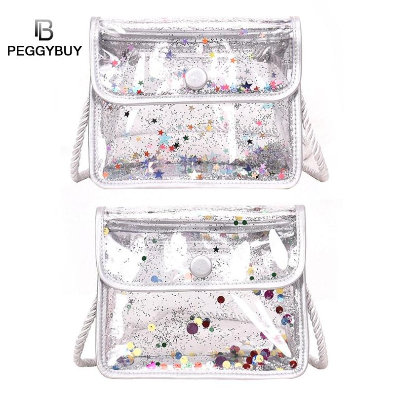 PVC Clear Women Crossbody Bag Shoulder Bags Stars Dots Jelly Messenger Bags Casual Party Transparent Hasp Flap for Teenage Girl