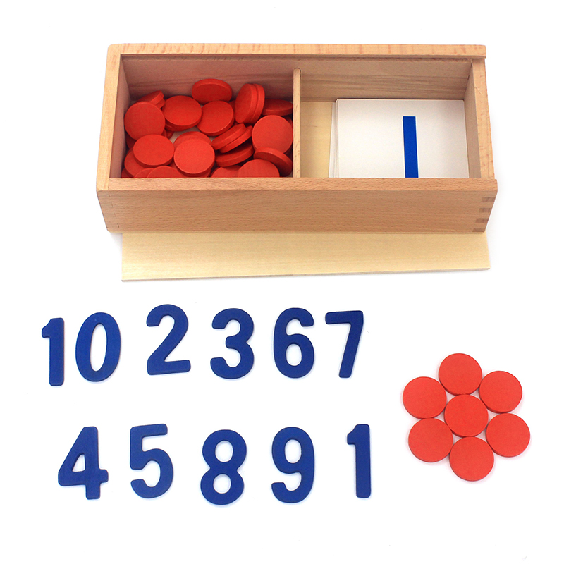 Dental House Montessori Material Wooden Toys Cards & Counters Number 1-10 Approach to Math Preschool Educational Training Toys
