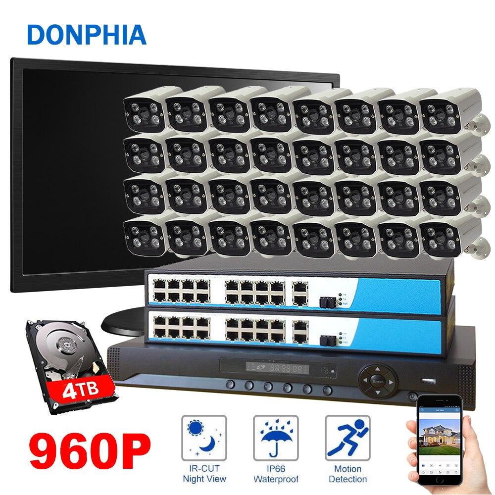 32 шт. Камера POE наблюдения Системы 32ch NVR + PoE + 960 P IP Камера + 4 ТБ HDD + Дисплей Водонепроницаемый Ночное Видение безопасности Системы