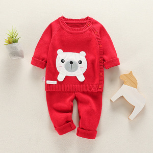 Image 5 - Infant Baby Clothes knitting Sweater Set Child Outerwear For Spring Autumn 2020 New Toddler O neck Flower Animal Clothing Suits