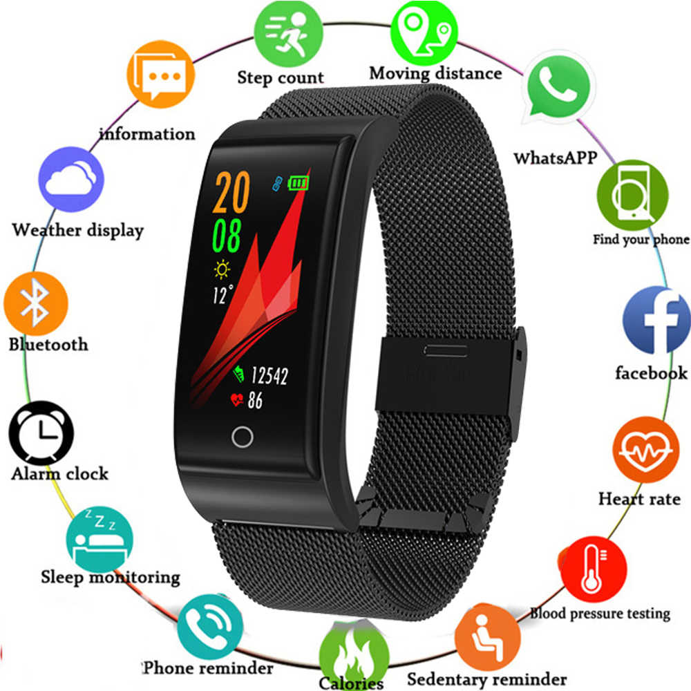 F4 Metal Smart Band Wristband Blood Pressure Heart Rate Monitor for Men Women Fitness Watch Pedometer Message Reminder