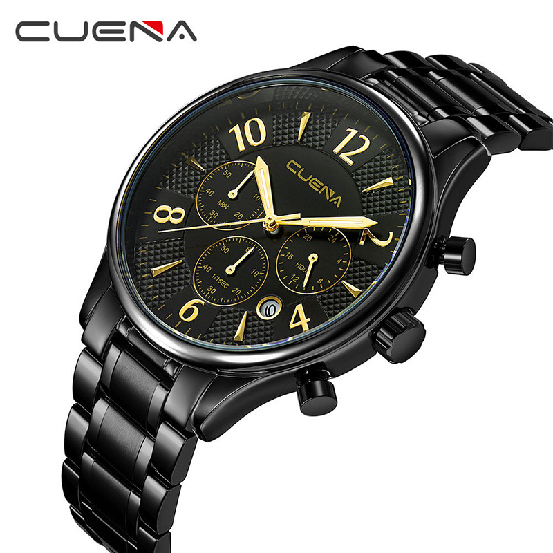 CUENA Fashion Men Quartz Watch Mens Watches Top Brand Luxury Stainless Steel Waterproof Man Sport Wristwatches Relogio Masculino new fashion mens watches gold full steel male wristwatches sport waterproof quartz watch men military hour man relogio masculino