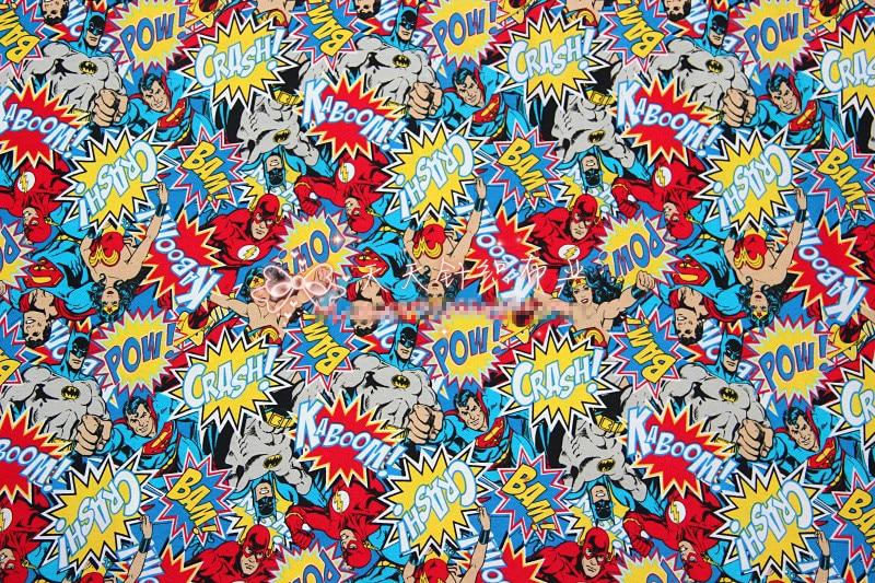 50x170cm Wonderful woman Batman Superman cotton fabrics knit Patchwork DIY boy clothing material dress Sewing Textile T-shirt