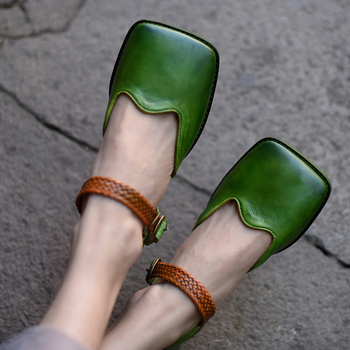 Artmu Original Retro Square Toe Women Sandals Shallow Mouth Genuine Leather Flat Handmade Buckle Shoes 1812-5 leather