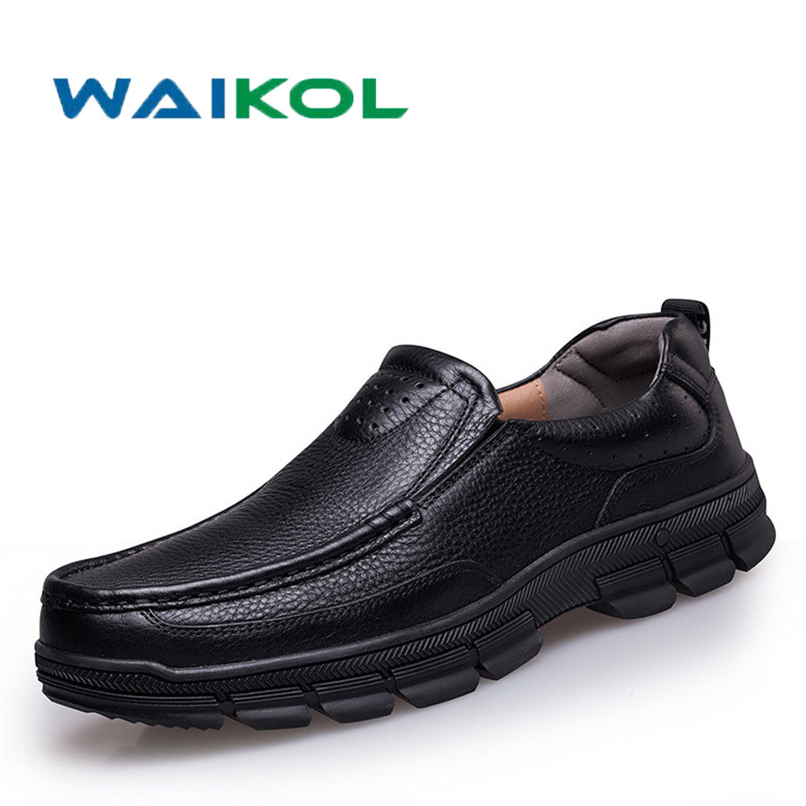 цена Waikol Genuine Leather Men Shoes, High Quality Men Casual Shoes, Luxury Brand Men Business Shoes онлайн в 2017 году