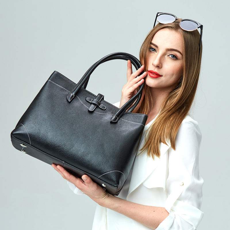 ФОТО textured-leather tote, women genuine Leather handbag in black and grey color