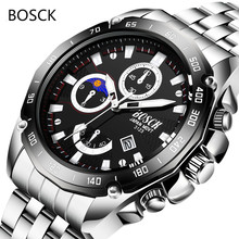 BOSCK Mens Watches Steel Sports Calendar Leisure Waterproof Multi-functional Quartz Watches Silicone Tape Watches for Male Reloj