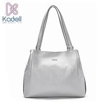 Kadell Womens Shoulder Bags Luxury Brand Ladies Handbag PU Leather High Quality Big Travel Messenger Bags Silver Women Handbags