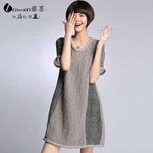 Plus size L-5XL (bust 118 cm) spring 2015 new Western style silk linen stitching loose big yards long dresses xxxl xxxxl xxxxxl