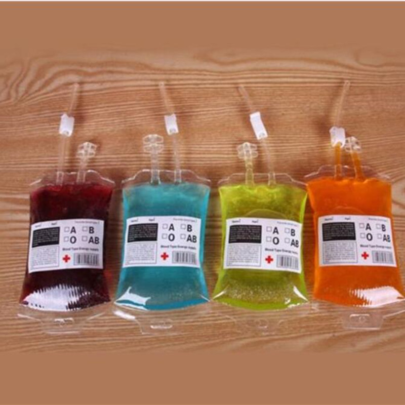 300ml Transparent Clear Medical PVC Material Reusable Blood Energy Drink Bag Vampire Pouch Props Christmas Navidad New Year