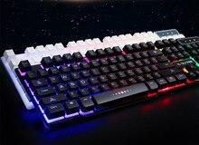 Русский Наклейки Версия Радуга цвета Подсветки LED Pro Gaming Keyboard Проводной USB Питание Полный 19Key для Компьютерной Периферии