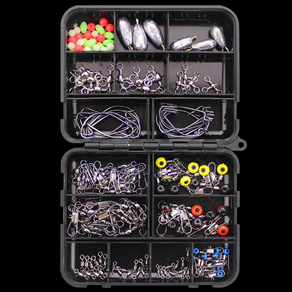 WALK FISH 160PCSBox Fishing Accessories Hooks Swivels Lead Fishing Sinker With Ring Carp Fishing Tackle Boxes