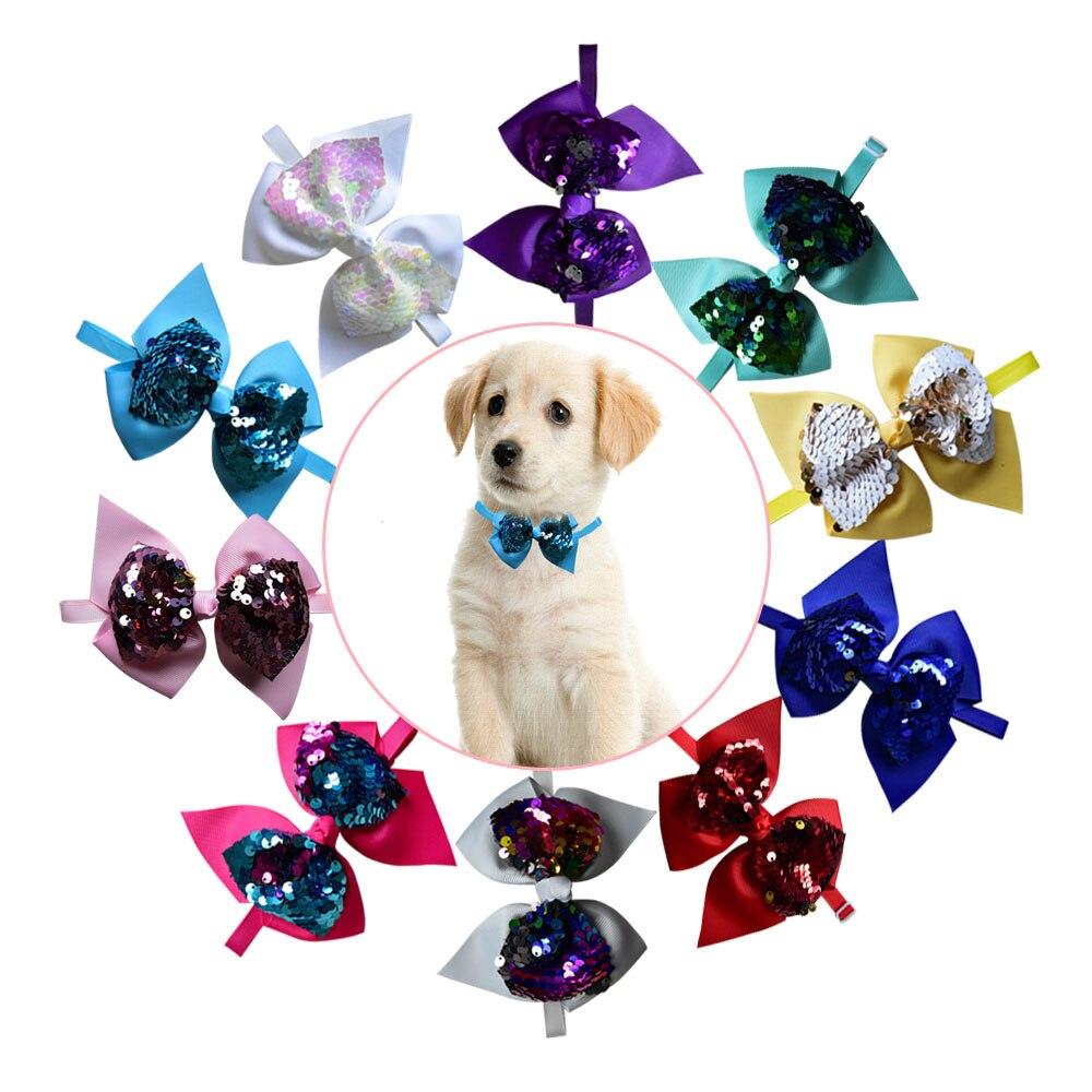 50pcs Cat Dog Wedding Accessories Samll Dog Cat Bow Tie Neckties Middle Dog Shining Holiday Bowties