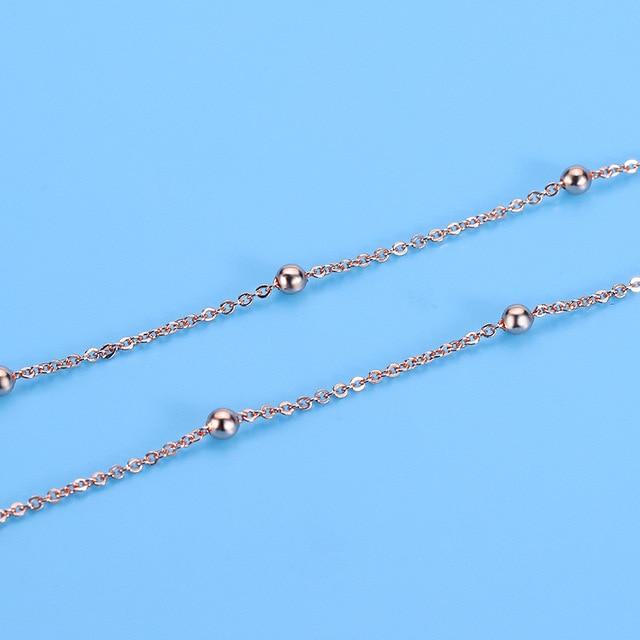 Тонкое ожерелье из серебра 925 пробы с бусинами, Женское Ожерелье-чокер для девушек, миниатюрное розовое золото, ожерелье без воротника SN030