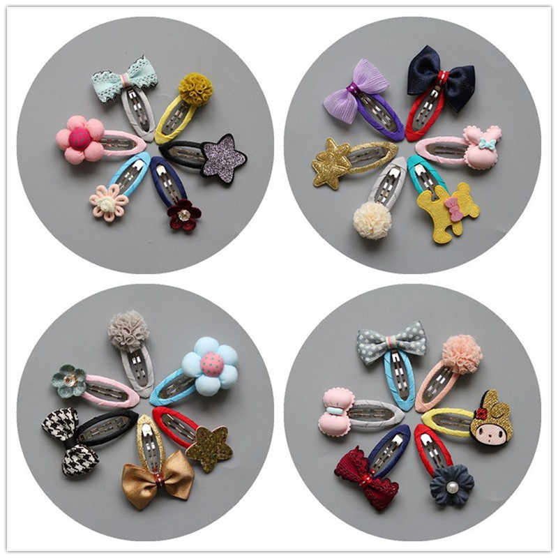 MIXIU 6pcs/set Baby Kids Bowknot Hairpins Cartoon Star/bear/pompom Hair Clips Girls Handmade Barrettes Headwear Accessories