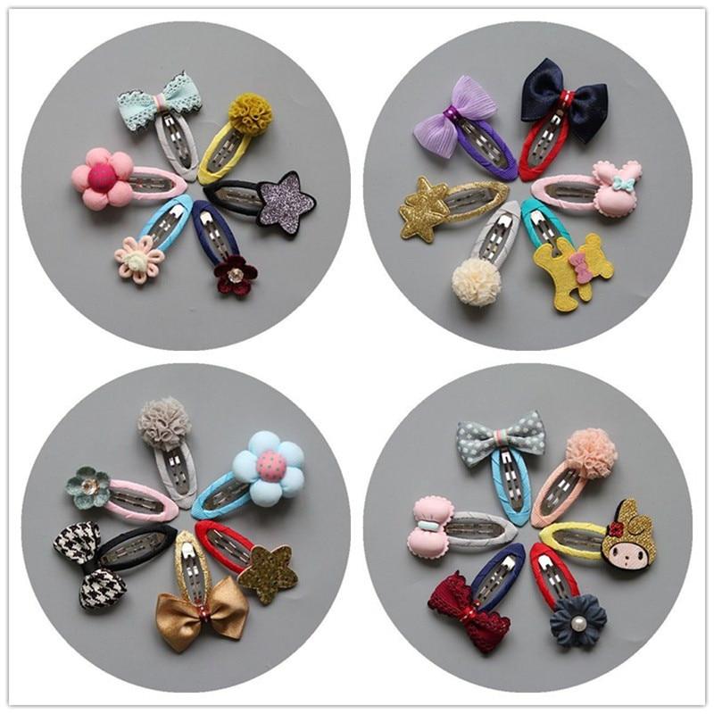 MIXIU 6pcs/set Baby Kids Bowknot Hairpins Cartoon Star/bear/pompom Hair Clips Girls Handmade Barrettes Headwear Accessories