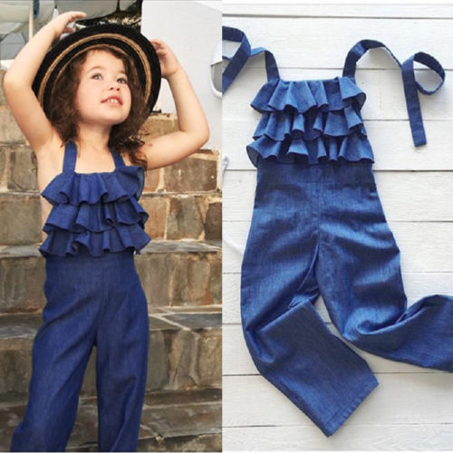 Fashion Casual Toddler Kids Girls Sleeveless Backless Denim Blue Bib Pants   Romper   Jumpsuit Playsuit Clothes