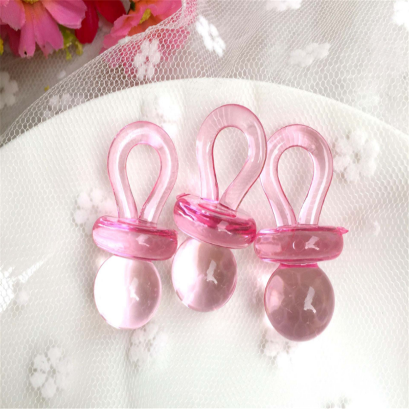 Small Pink /& Blue Mini Acrylic Baby Pacifiers Baby Shower Table Scatter Decor